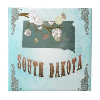 South Dakota Map With Lovely Birds Tile