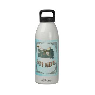 South Dakota Map With Lovely Birds Drinking Bottles