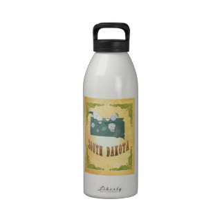 South Dakota Map With Lovely Birds Reusable Water Bottle