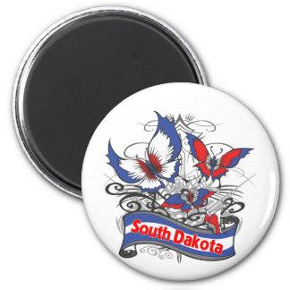 South Dakota Patriotism Butterfly Refrigerator Magnets