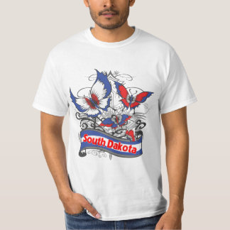 South Dakota Patriotism Butterfly T-shirt