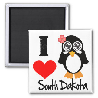 South Dakota Penguin - I Love South Dakota Magnets