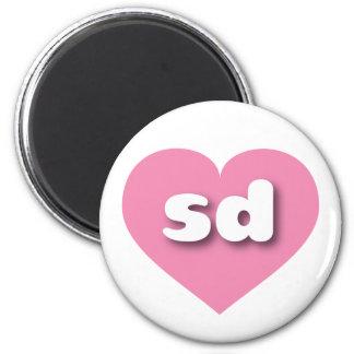 South Dakota pink heart - mini love 6 Cm Round Magnet