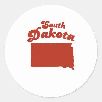 SOUTH DAKOTA Red State Round Sticker