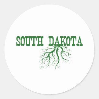 South Dakota Roots Green Word Art Classic Round Sticker
