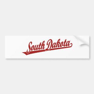 South Dakota script logo in red Bumper Sticker