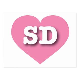 South Dakota SD pink heart Postcard