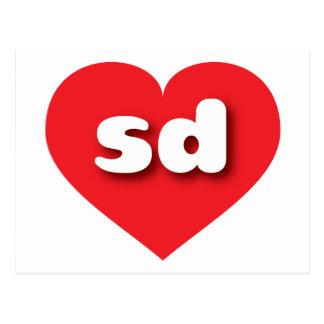 South Dakota sd red heart Postcard