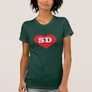 South Dakota SD red heart T-shirts