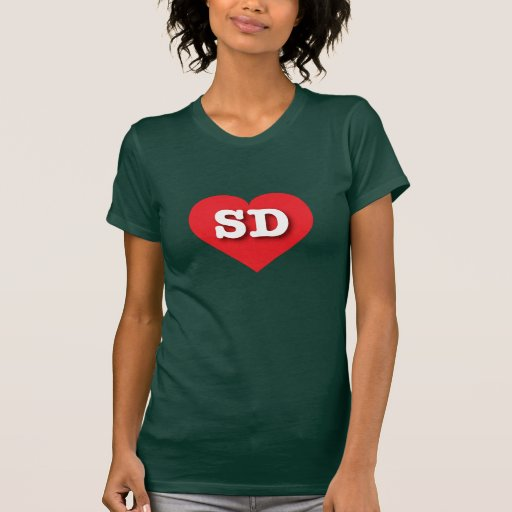 South Dakota SD red heart Tshirt