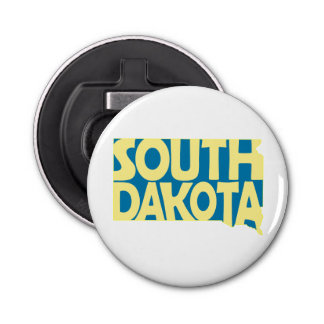 South Dakota State Name Word Art Yellow Bottle Opener