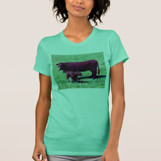 South Devon Ruby Red Cow And Young Calf T-Shirt