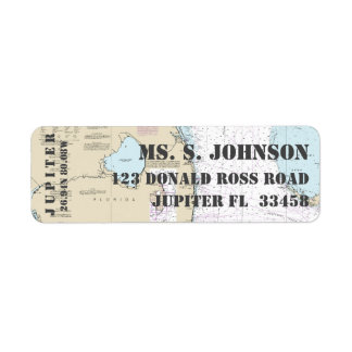 South Florida Home Port Nautical Navigation Chart Return Address Label