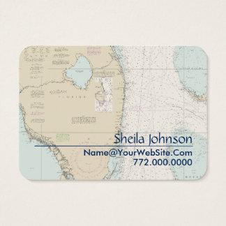 South Florida Nautical Chart Clean Fresh Blue Tan Business Card