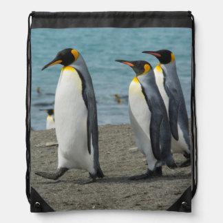 South Georgia. Saint Andrews. King penguins 9 Drawstring Bag
