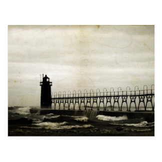 South Haven Michigan Lighthouse Stormy Weather Postcard