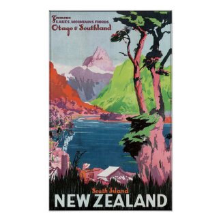 South Island New Zealand Travel Poster