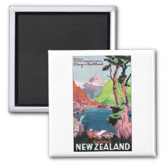 South Island New Zealand Travel Poster Magnet