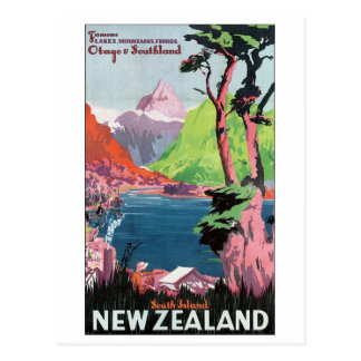 South Island New Zealand Travel Poster Postcard