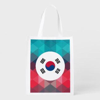 South Korea flag circle on modern bokeh