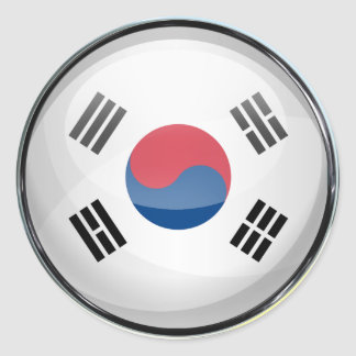 South Korea Flag Glass Ball Classic Round Sticker
