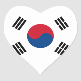 South Korea Flag Heart Sticker