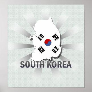 South Korea Flag Map 2.0 Poster