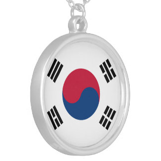 South Korea Flag Silver Plated Necklace