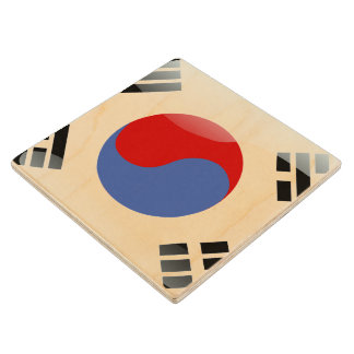 South Korea glossy flag Wood Coaster