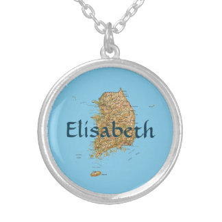 South Korea Map + Name Necklace