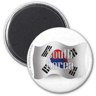 South Korea Waving Flag 6 Cm Round Magnet