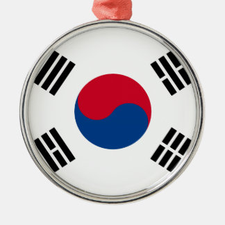 South Korean Flag Silver-Colored Round Decoration