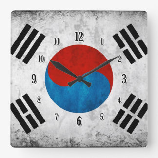 South Korean Flag Square Wall Clock