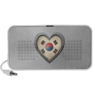 South Korean Heart Flag Stainless Steel Effect Travelling Speakers