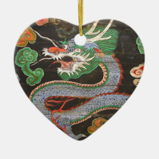 South Korean Namdaemun Sungnyemun Dragon Ceramic Heart Decoration