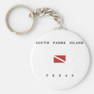 South Padre Island Texas Scuba Dive Flag Basic Round Button Key Ring