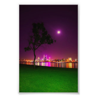 South Perth Foreshore Perth City Lights Skyline Photo Print