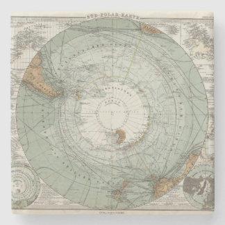 South Polar Region Map Stone Coaster