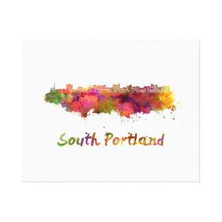 South Portland skyline in watercolor Canvas Print