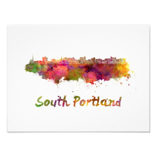 South Portland skyline in watercolor Photo Print