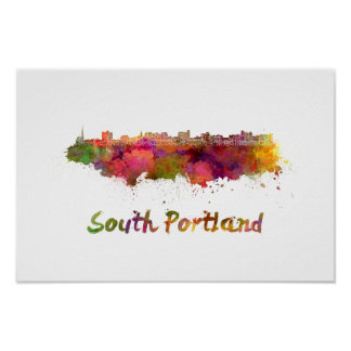 South Portland skyline in watercolor Poster