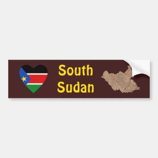 South Sudan Flag Heart + Map Bumper Sticker Car Bumper Sticker