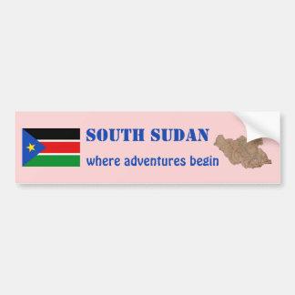 South Sudan Flag + Map Bumper Sticker Car Bumper Sticker