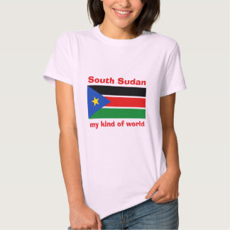 South Sudan Flag-Map-Text T-Shirt