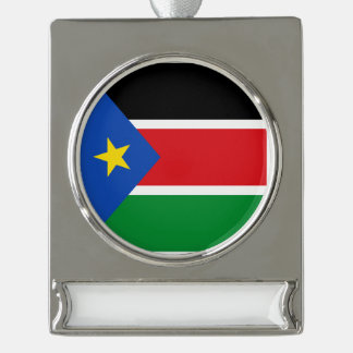 South Sudan Flag Silver Plated Banner Ornament