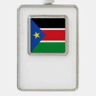 South Sudan Flag Silver Plated Framed Ornament