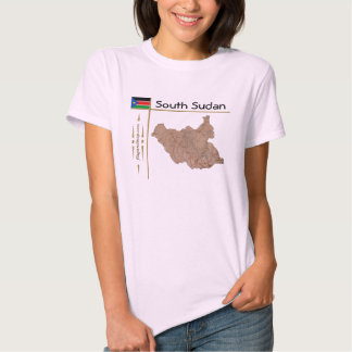 South Sudan Map + Flag + Title T-Shirt