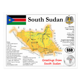 South the Sudan map Postcard