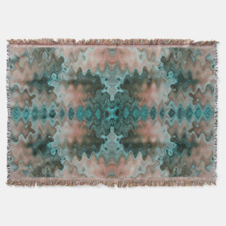 South Western Turquoise Sand Peach Wavy Blend Throw Blanket
