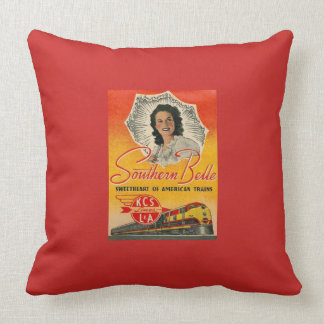 Southern Belle Train Railroad Vintage Cushion
